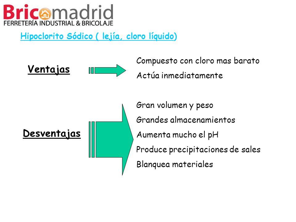 Ventajas Desventajas Hipoclorito Sódico ( lejía, cloro líquido)