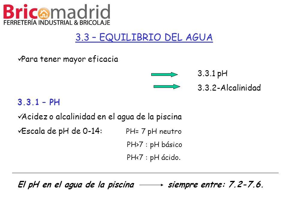 3.3 – EQUILIBRIO DEL AGUA Para tener mayor eficacia 3.3.1 pH