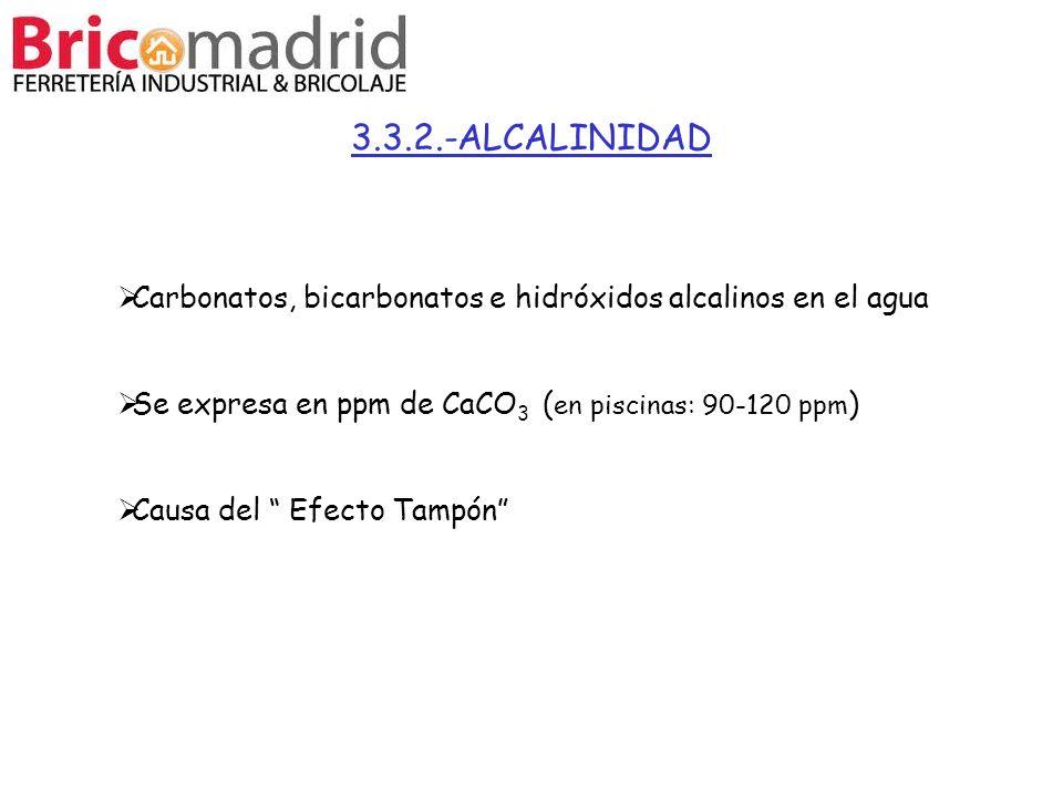 3.3.2.-ALCALINIDAD Carbonatos, bicarbonatos e hidróxidos alcalinos en el agua. Se expresa en ppm de CaCO3 (en piscinas: 90-120 ppm)