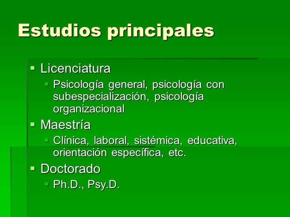 Estudios principales Licenciatura Maestría Doctorado