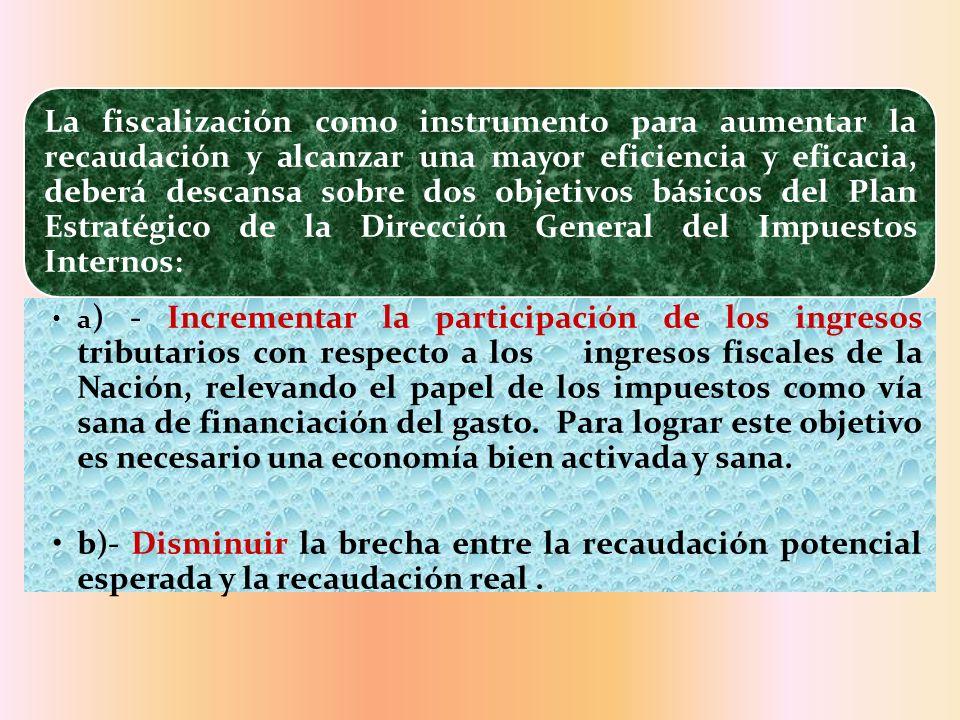 La fiscalización como instrumento para aumentar la recaudación y alcanzar una mayor eficiencia y eficacia, deberá descansa sobre dos objetivos básicos del Plan Estratégico de la Dirección General del Impuestos Internos: