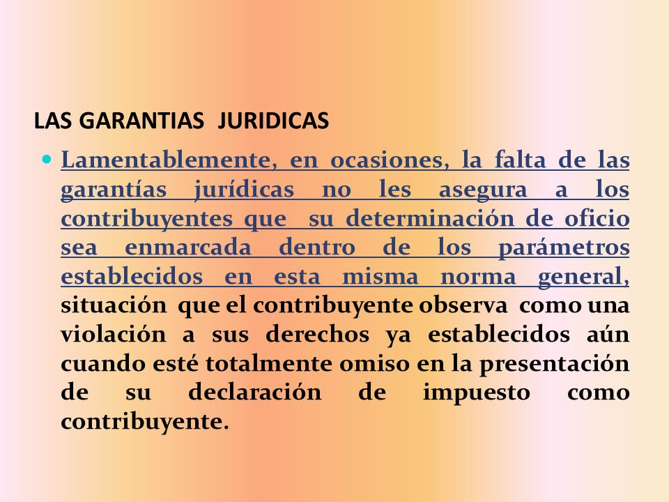 LAS GARANTIAS JURIDICAS