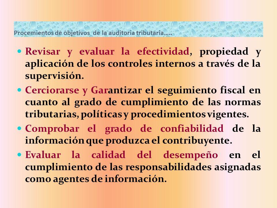 Procemientos de objetivos de la auditoria tributaria…..