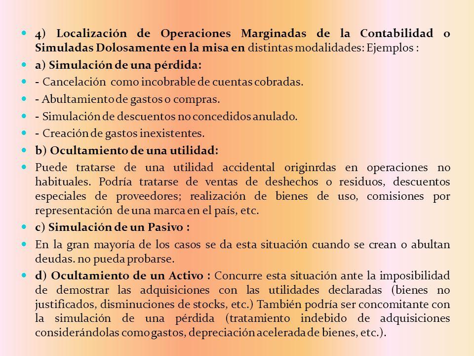 4) Localización de Operaciones Marginadas de la Contabilidad o Simuladas Dolosamente en la misa en distintas modalidades: Ejemplos :