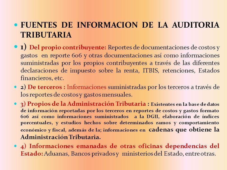 FUENTES DE INFORMACION DE LA AUDITORIA TRIBUTARIA