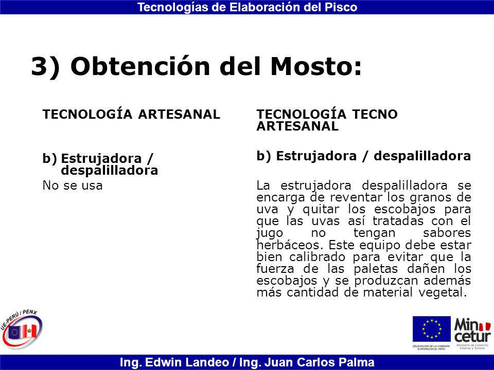 3) Obtención del Mosto: TECNOLOGÍA ARTESANAL