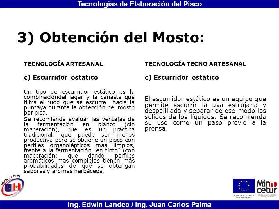 3) Obtención del Mosto: Escurridor estático Escurridor estático