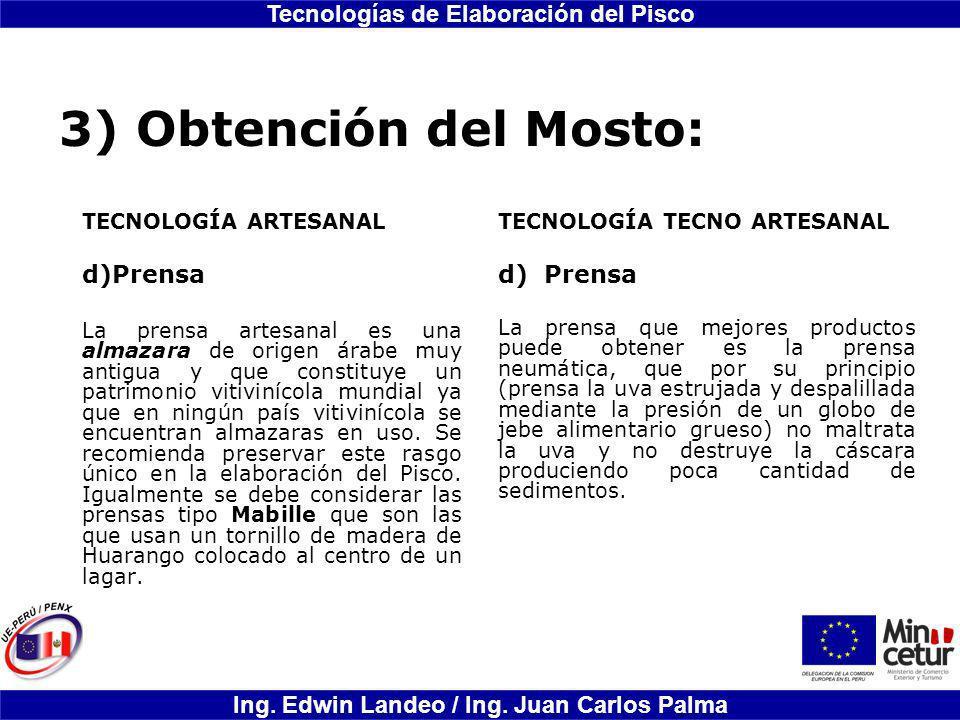 3) Obtención del Mosto: Prensa d) Prensa TECNOLOGÍA ARTESANAL