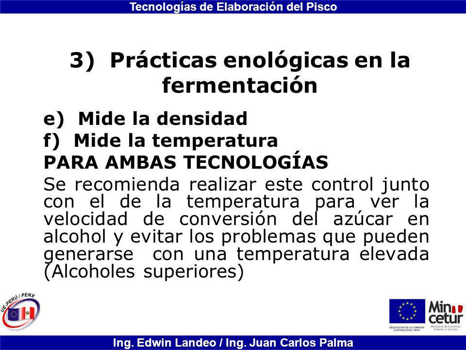 3) Prácticas enológicas en la fermentación