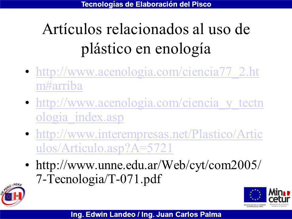 Artículos relacionados al uso de plástico en enología