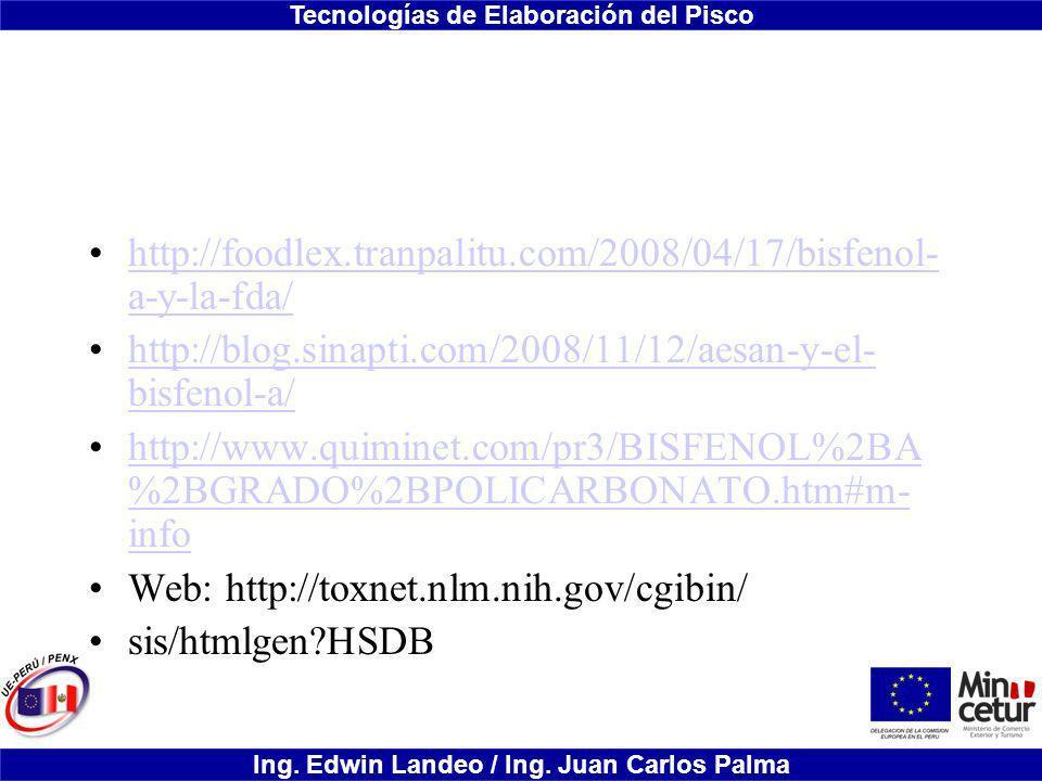 http://foodlex.tranpalitu.com/2008/04/17/bisfenol-a-y-la-fda/ http://blog.sinapti.com/2008/11/12/aesan-y-el-bisfenol-a/
