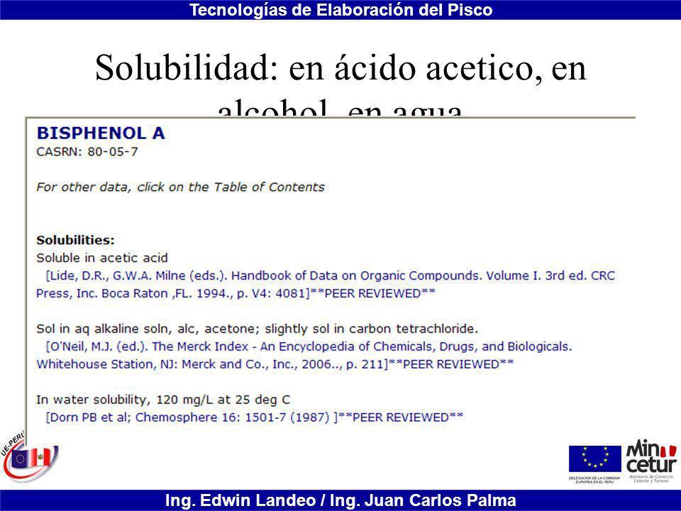 Solubilidad: en ácido acetico, en alcohol, en agua