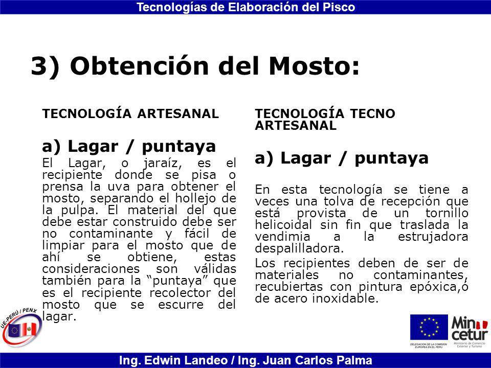 3) Obtención del Mosto: Lagar / puntaya a) Lagar / puntaya