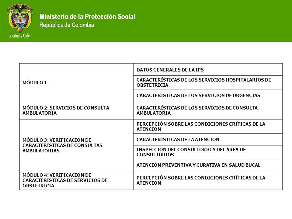 MÓDULO 1 DATOS GENERALES DE LA IPS. CARACTERÍSTICAS DE LOS SERVICIOS HOSPITALARIOS DE OBSTETRICIA.