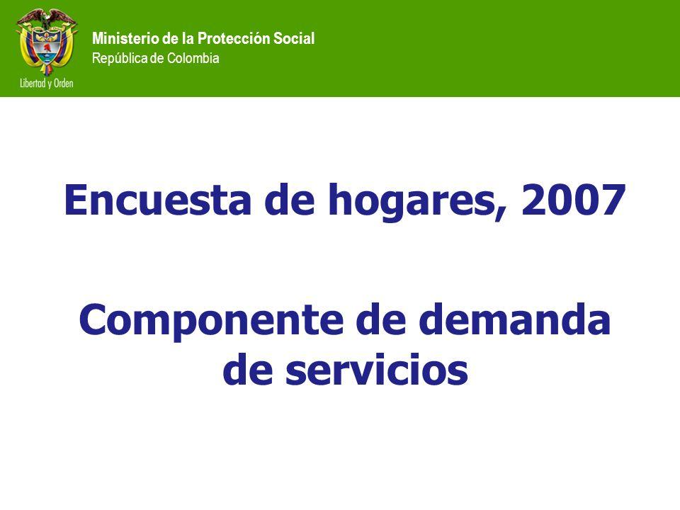 Encuesta de hogares, 2007 Componente de demanda de servicios