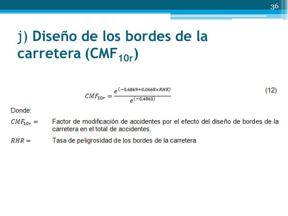 j) Diseño de los bordes de la carretera (CMF10r)