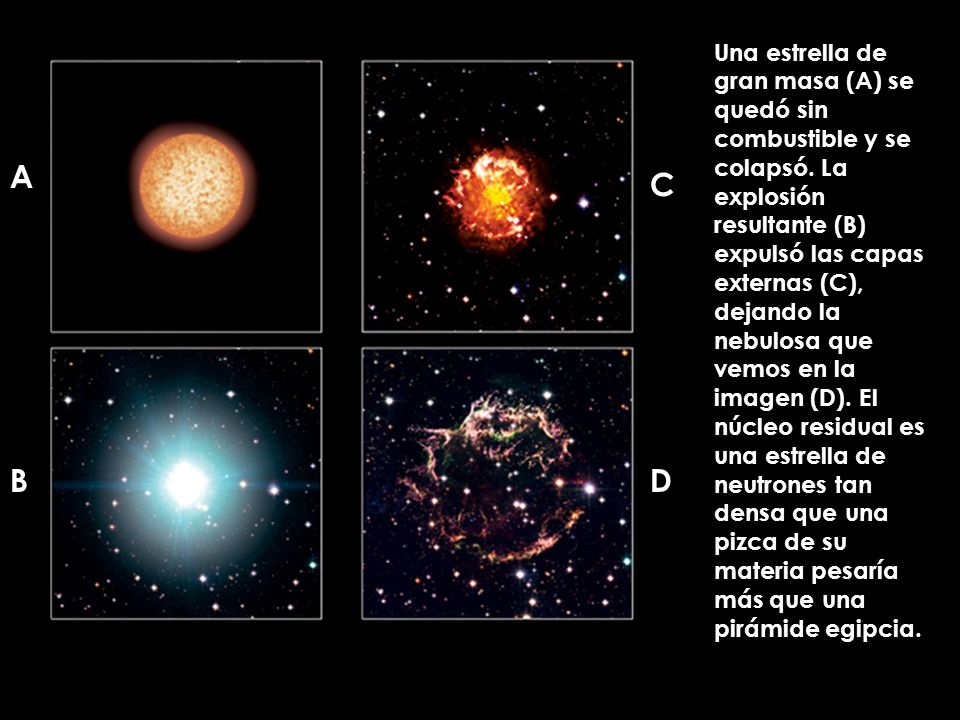 Una estrella de gran masa (A) se quedó sin combustible y se colapsó