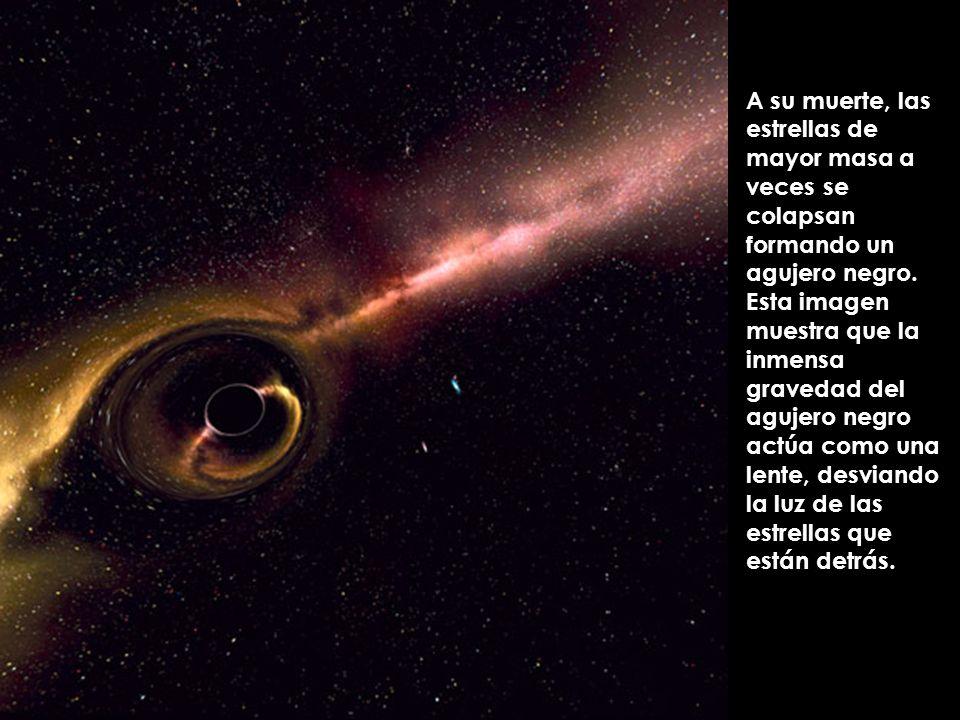 A su muerte, las estrellas de mayor masa a veces se colapsan formando un agujero negro.