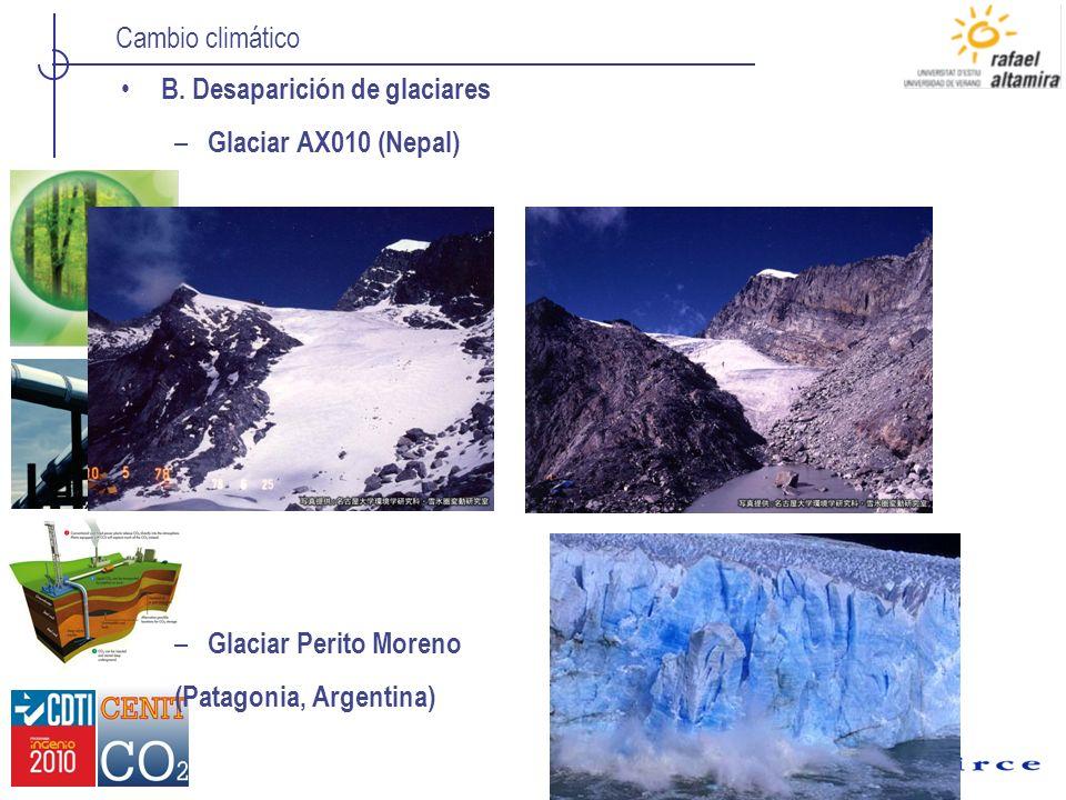 B. Desaparición de glaciares