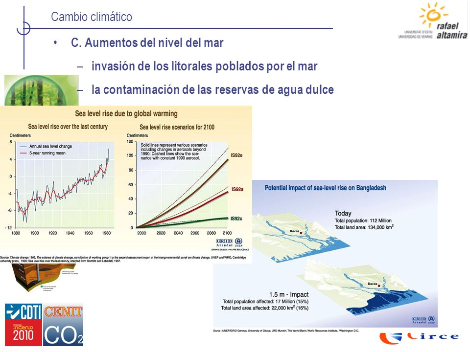 C. Aumentos del nivel del mar