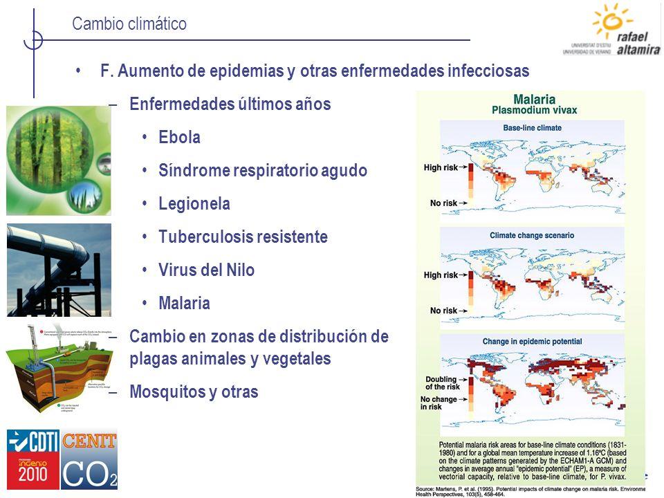 F. Aumento de epidemias y otras enfermedades infecciosas
