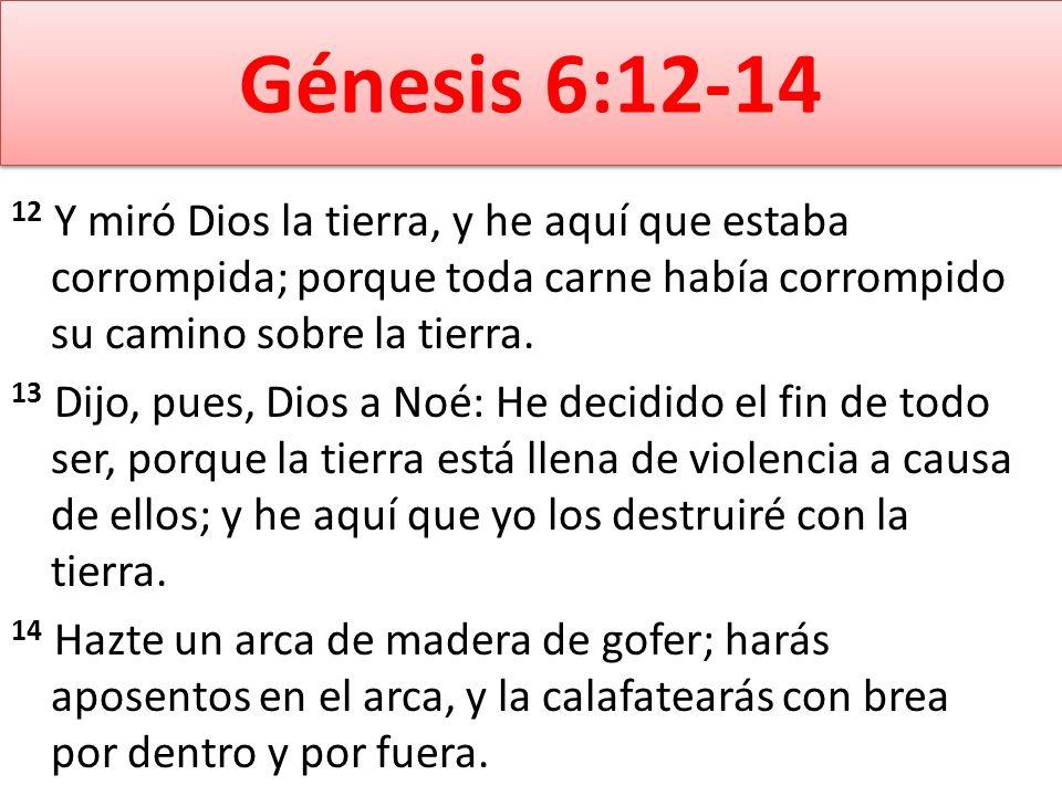 Génesis 6:12-14 12 Y miró Dios la tierra, y he aquí que estaba corrompida; porque toda carne había corrompido su camino sobre la tierra.