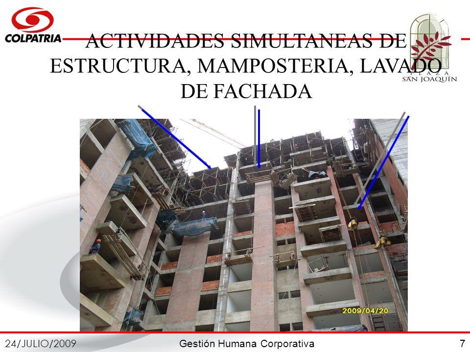 ACTIVIDADES SIMULTANEAS DE ESTRUCTURA, MAMPOSTERIA, LAVADO DE FACHADA