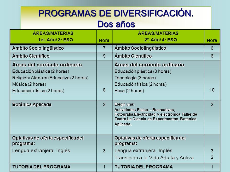 PROGRAMAS DE DIVERSIFICACIÓN. Dos años