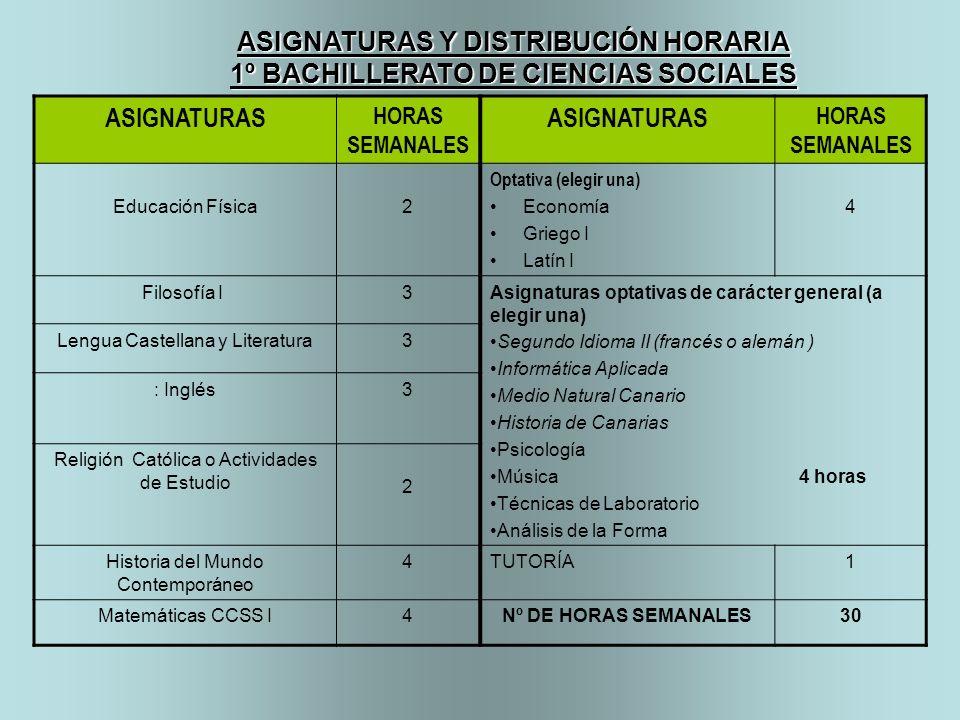 ASIGNATURAS Y DISTRIBUCIÓN HORARIA
