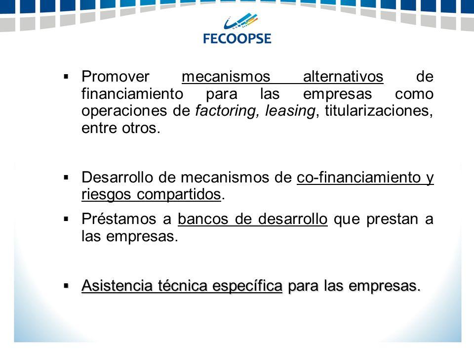 Promover mecanismos alternativos de financiamiento para las empresas como operaciones de factoring, leasing, titularizaciones, entre otros.