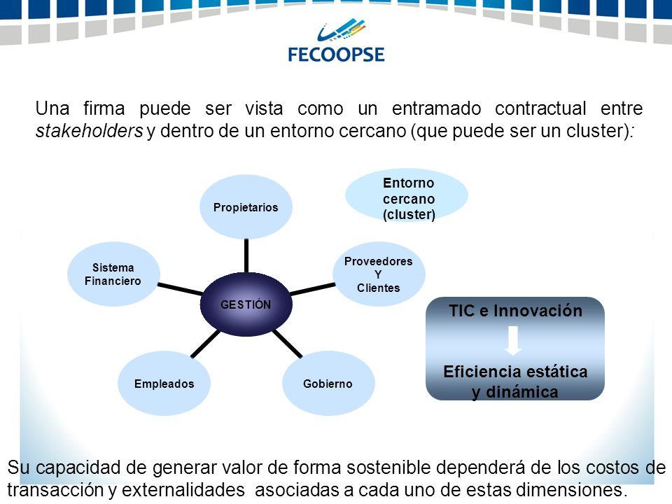 Entorno cercano (cluster) Eficiencia estática y dinámica