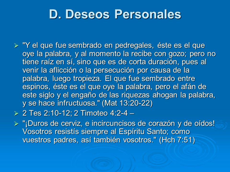 D. Deseos Personales