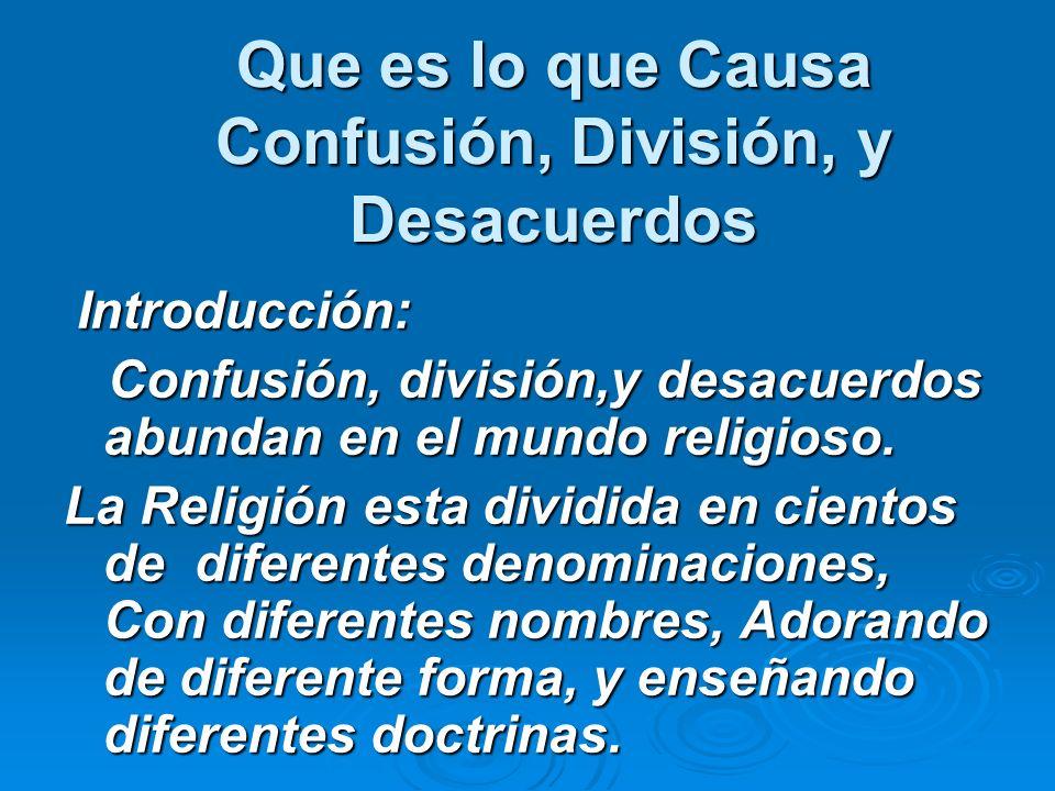 Que es lo que Causa Confusión, División, y Desacuerdos