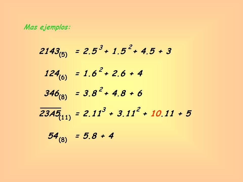 Mas ejemplos: 3. 2. 2143. = 2.5 + 1.5 + 4.5 + 3. (5) 2. 124. = 1.6 + 2.6 + 4. (6) 2. 346.