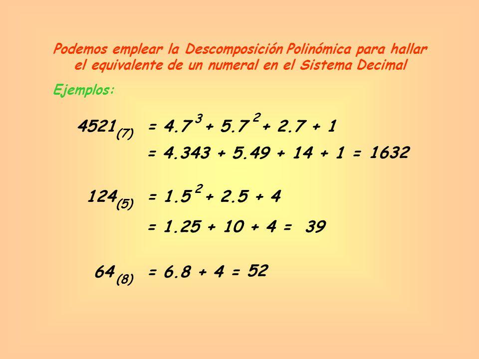 Podemos emplear la Descomposición Polinómica para hallar el equivalente de un numeral en el Sistema Decimal