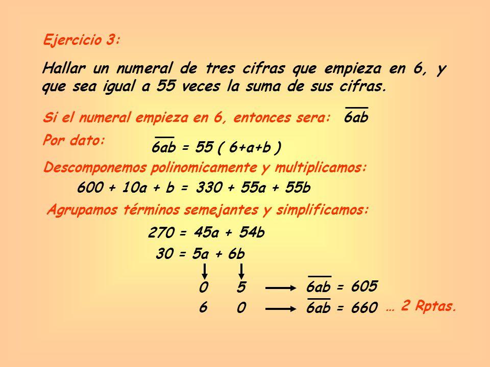 Ejercicio 3: Hallar un numeral de tres cifras que empieza en 6, y que sea igual a 55 veces la suma de sus cifras.