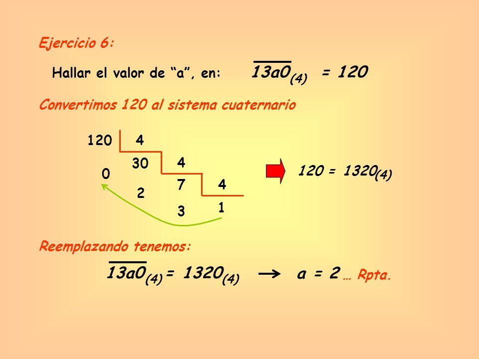 13a0 = 120 13a0 = 1320 a = 2 Ejercicio 6: Hallar el valor de a , en: