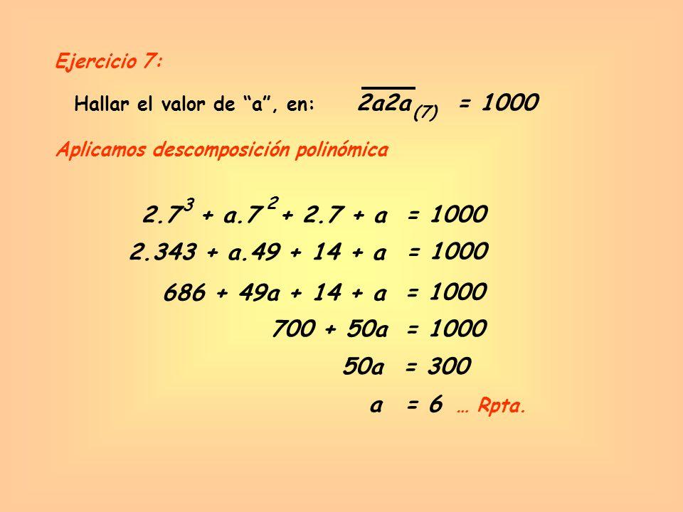 Ejercicio 7: Hallar el valor de a , en: 2a2a. = 1000. (7) Aplicamos descomposición polinómica.