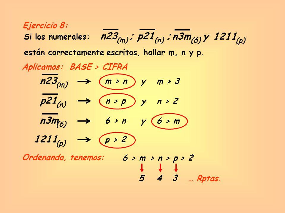 n23 ; p21 ; n3m y 1211 n23 p21 n3m 1211 Ejercicio 8: Si los numerales: