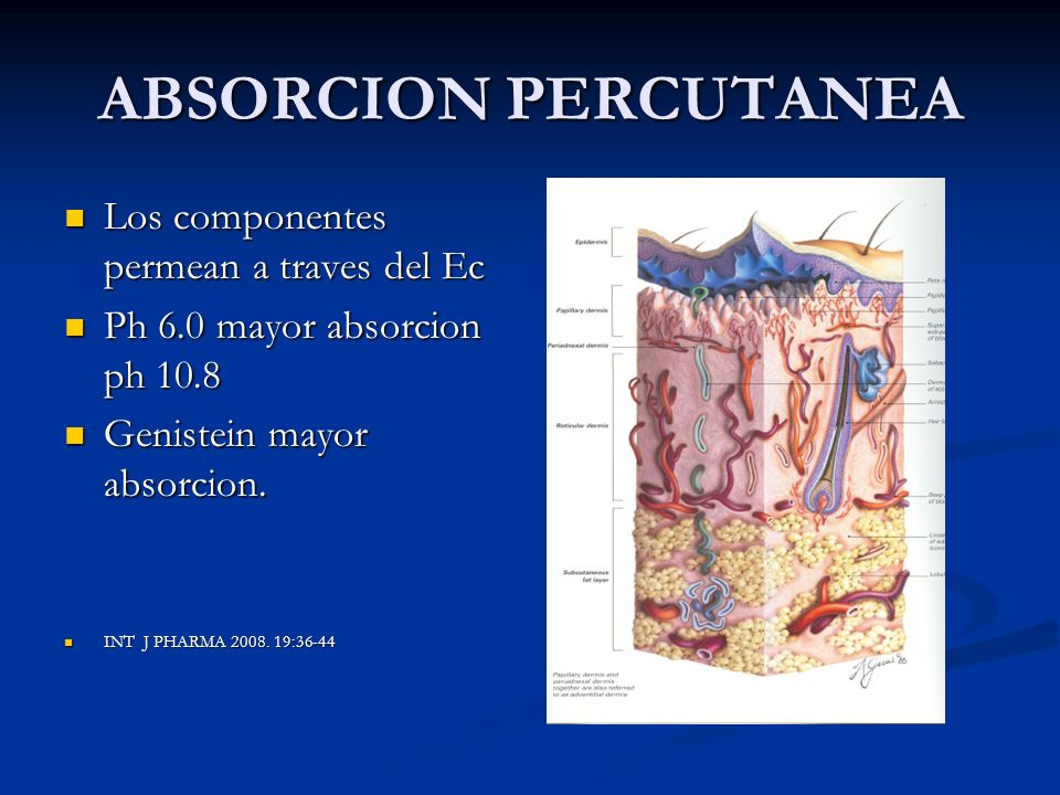 ABSORCION PERCUTANEA Los componentes permean a traves del Ec