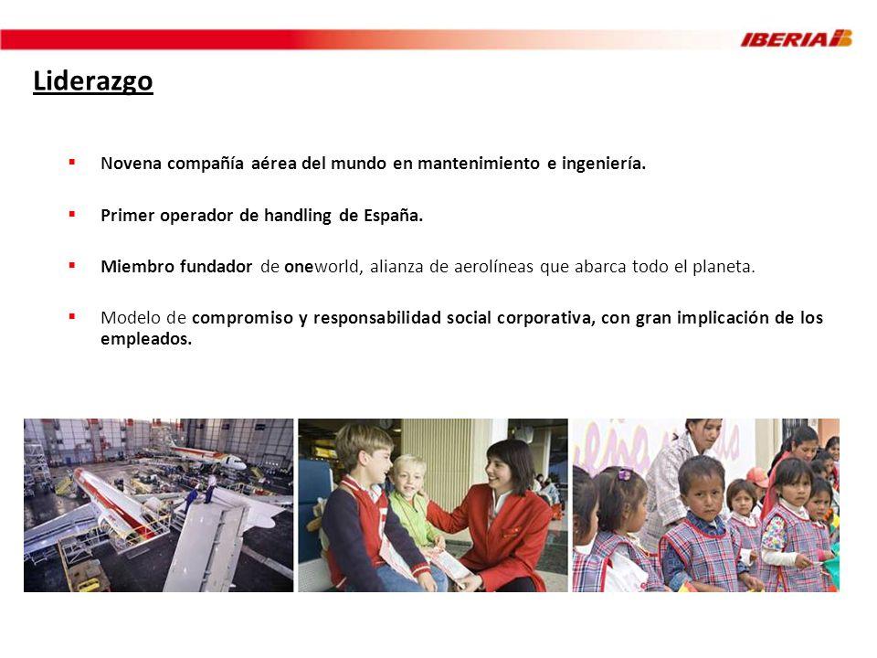 Liderazgo Novena compañía aérea del mundo en mantenimiento e ingeniería. Primer operador de handling de España.