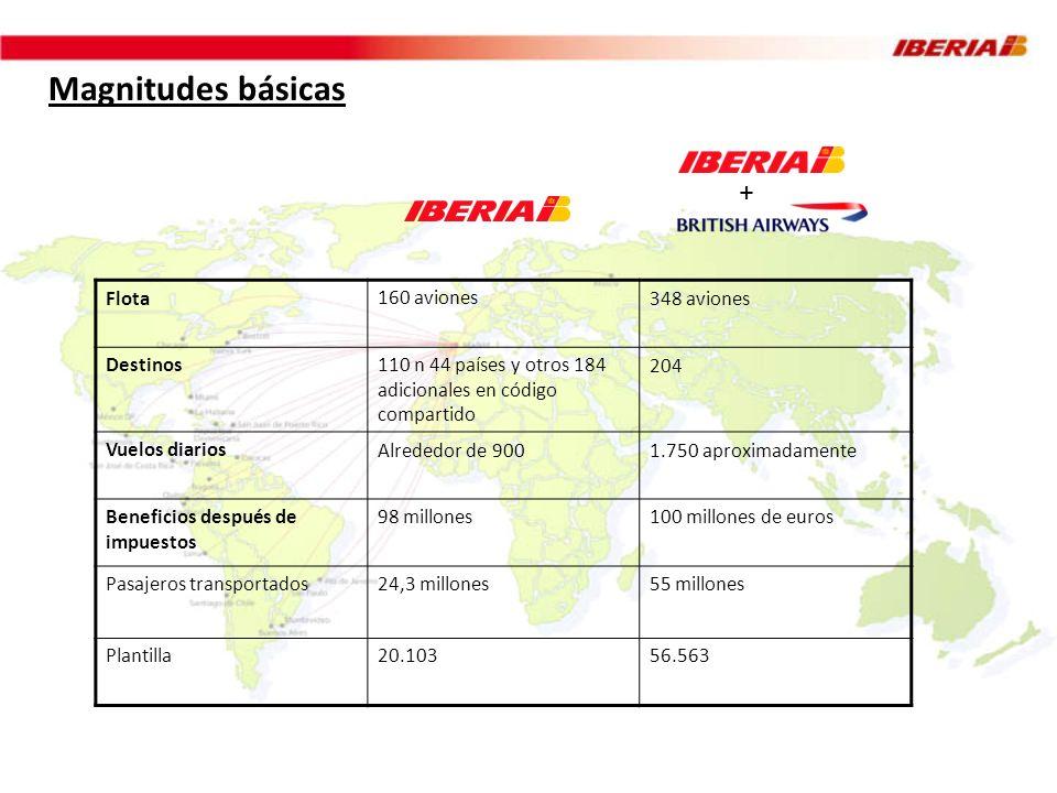 Magnitudes básicas + Flota 160 aviones 348 aviones Destinos