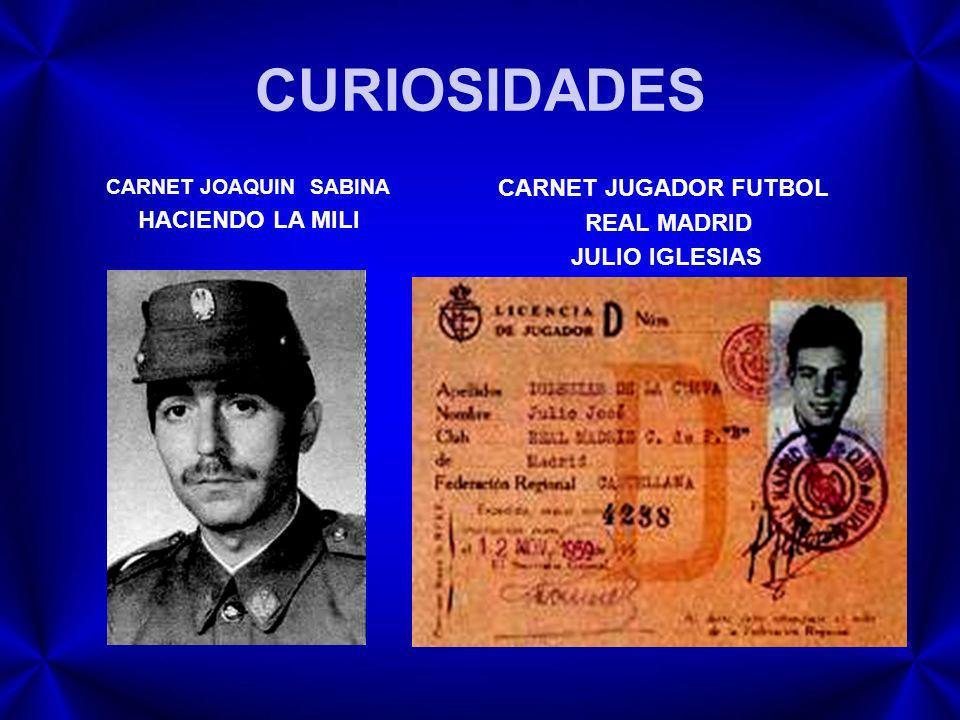 CURIOSIDADES CARNET JUGADOR FUTBOL REAL MADRID JULIO IGLESIAS