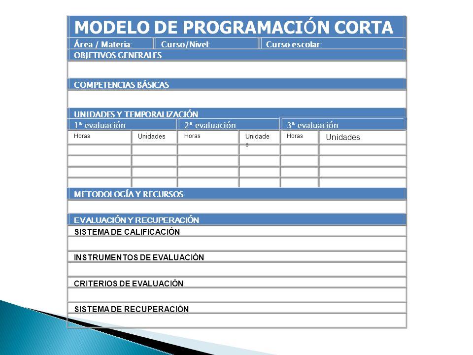 MODELO DE PROGRAMACIÓN CORTA