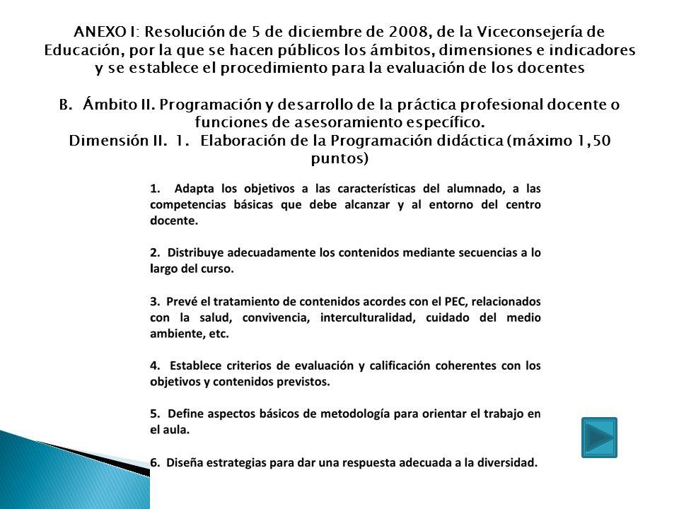 ANEXO I: Resolución de 5 de diciembre de 2008, de la Viceconsejería de Educación, por la que se hacen públicos los ámbitos, dimensiones e indicadores y se establece el procedimiento para la evaluación de los docentes B.