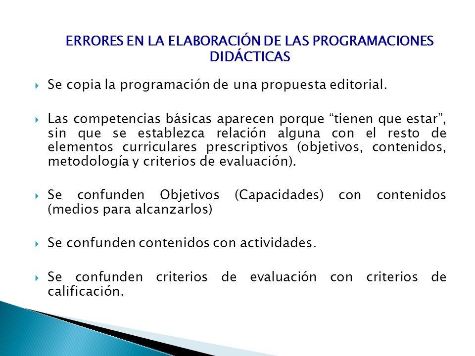 Errores en la elaboración de las programaciones didácticas