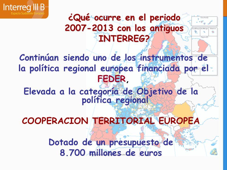 ¿Qué ocurre en el periodo 2007-2013 con los antiguos INTERREG