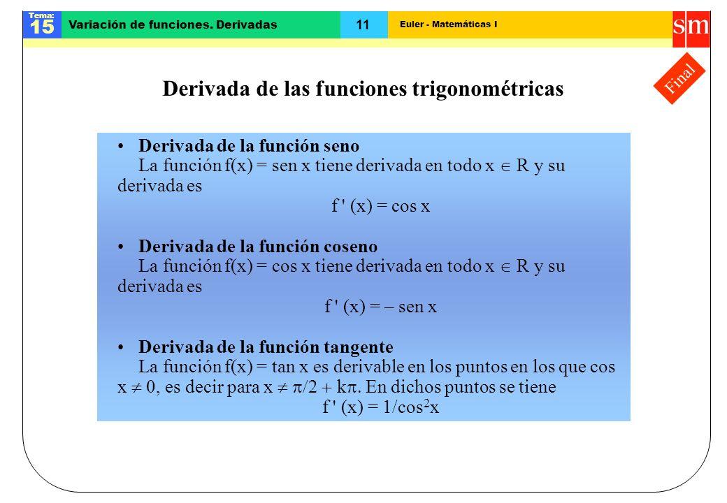 Derivada de las funciones trigonométricas