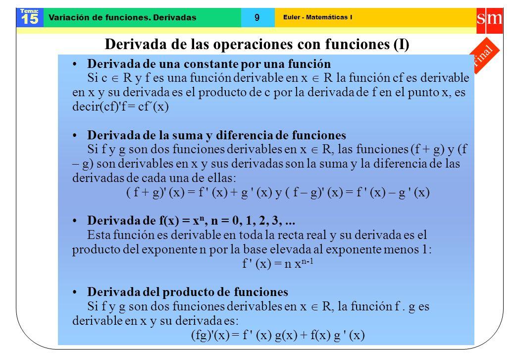 Derivada de las operaciones con funciones (I)