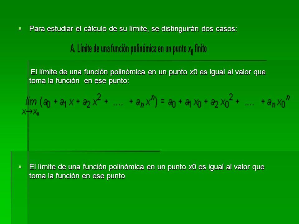 Para estudiar el cálculo de su límite, se distinguirán dos casos: